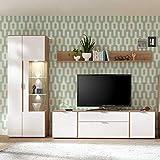 Pharao24 Wohnzimmer Anbauwand in Weiß und Eiche modern LED Beleuchtung Energieeffizienzklasse LED
