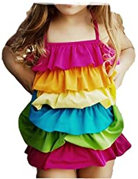 Win8Fong niñas arco iris de baño niños Bañador para niña 2–10Y los bañistas Bikini Tankini de vacaciones