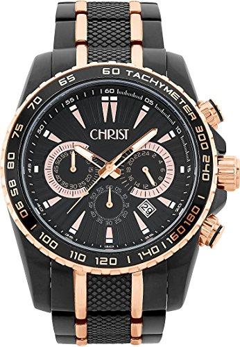 CHRIST times Herren-Armbanduhr Analog Quarz One Size, schwarz, schwarz
