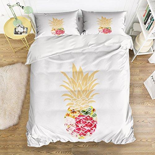 ENcount Weich Betten Sets 4-Teilig Bettbezug mit 2kissenrollen-Periodensystem Polyester Hypoallergen Tagesdecke Queen Color-8 -