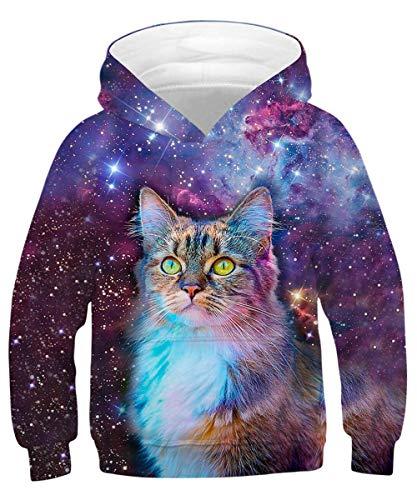 ALISISTER Unisex Niños Hoodie 3D Galaxia Gato Sudadera con Capucha Sweatshirt Imprimió Hooded Pullover Niños Clothing Top M