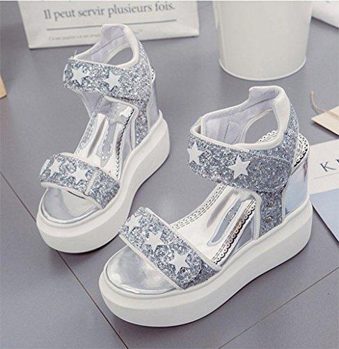 L'aumento del tempo libero donne selvagge sandali parola cingolato sandali aperti delle donne all'interno sandali femminili fondo pesante Silver