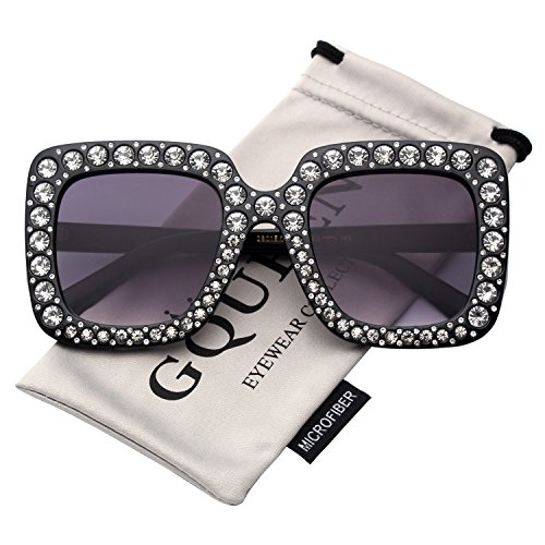 GQUEEN Women Oversized Square Frame Sunglasses Sparkling Crystal Brand Designer Fashion Shades S063