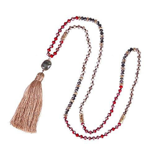 Lang Boho Quaste Anhänger Handmade Halskette Glas Kristall Perlen Kette mit Labradorite - Braun Gelb ()