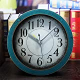 Hongge Kaminuhren,Retro-alte Holz Kleine Uhr Desktop-Heimtextilien Uhr 12 * 12cm