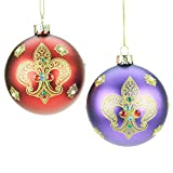 Set of 2 Red & Purple Glass Christmas Baubles with Gold Fleur de Lys (8cm)