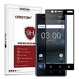 OMOTON Protection D'écran Nokia 3, Film Protection en Verre Trempé Complet [Couverture Complète] [Dureté 9H] et Résistant aux Rayures pour Nokia 3, Noir