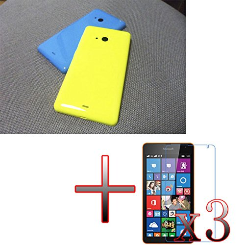 XMY Smooth Battery Back Door Cover Case Abdeckungs-Fall +3x Protector Schutz for Microsoft Lumia 535 Color Yellow new Batterie Back Door Cover Case