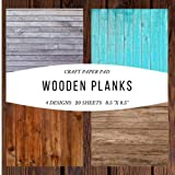 """Craft Paper Pad Wooden Planks 8.5""""x8.5"""" Craft Paper, 4 Designs, 20 Sheets: Decorative Designer Paper Pad For Scrapbooking, Card Making, Origami, DIY ... (Scrapbook Paper Packs) (Papercraft, Band 2) - House And Home"""