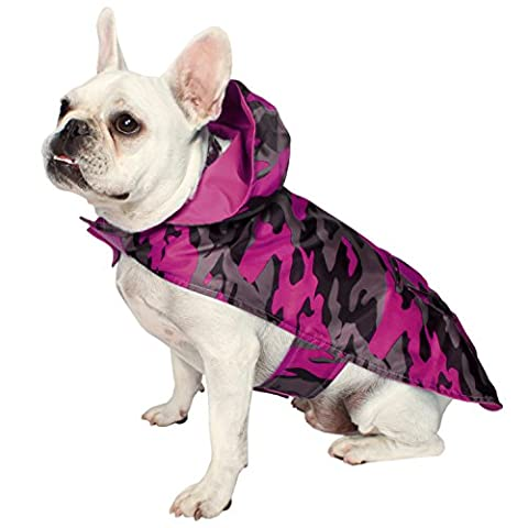 Jelly Wellies Premium Quality Waterproof Reversible Camouflage Raincoat for Dogs- Medium, Pink
