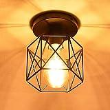 NUODIFAN Vintage Deckenleuchten, Retro E27 Lampenfassung Leuchtmittel Metall Lampenschirm Deckenlampe Semi-Flush Mount Pendelleuchte