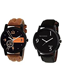 Maan International Combo 2 Analogue Black Dial Men's & Boy's Watch Leather Strap LR-01-06