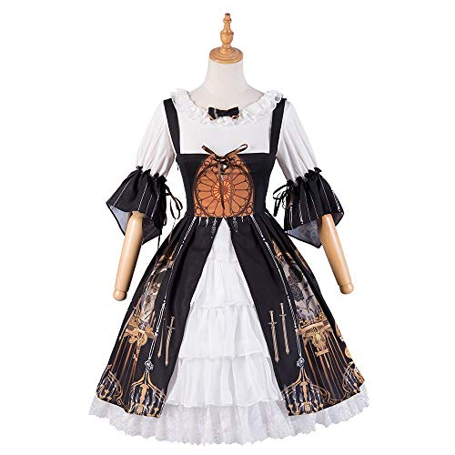 Mini-tee-party-kleid (QAQBDBCKL Lolita Cosplay Teufel Tränen Mit Hemd Innen Viktorianischen Kleid Süße Kleid Tee Party Gothic Kleid Schwarz)