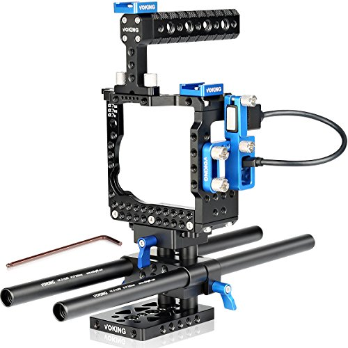 Voking VK A7SIIB fotocamera video film Movie video stabilizzatore gabbia kit + video Cage + impugnatura + 2* shoe mount + 2* 15mm asta + cavo HDMI per Sony Alpha A7SII A7RII & & A7II