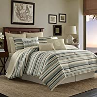 Tommy Bahama Canvas Stripe Duvet Cover Set Green Full/Queen