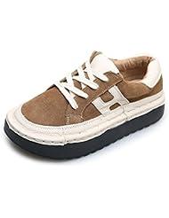 Zapatos De Mujer Cabeza Plana Encaje Superior Bajo Los Zapatos De Cuero De Gamuza,Caqui ,35