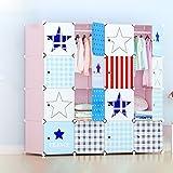 Lewie-Wardrobe Kinder Cartoon Baby Kleiderschrank Einfache Kombination von Kunststoff Baby Kleiderschrank Aufbewahrungsschränke Klappschrank montiert (Farbe : Pink)