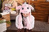 Lustige Hase Einhorn Hund Hut mit beweglichen Ohren Plüsch Kaninchen Hut Cosplay Kaninchen Mädchen Jungen Kinder Erwachsene,pink2