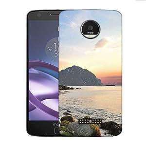 Snoogg Rocks On The River Side Designer Protective Phone Back Case Cover for Motorola Moto Z