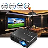 "CAIWEI Video Projector 1080p 4200 Lumen, 200"" Widescreen HD LED LCD Projector Home"