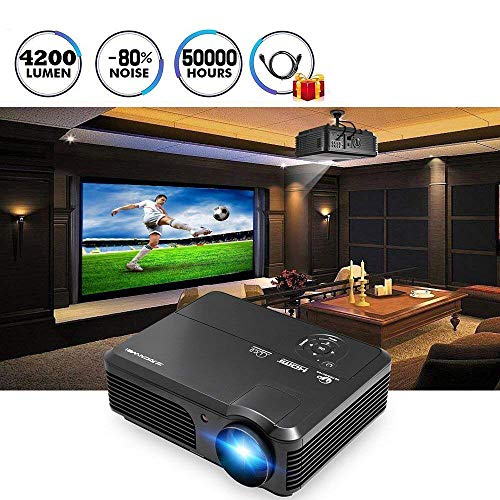 WIKISH HD Video Projector 1080P 4200 Lumen WXGA Home Cinema LED LCD PROJECTOR Outdoor Movie Gaming HDMI USB Smartphone Beamer FOR TV DVD Xbox blau Ray Home Theater Projector
