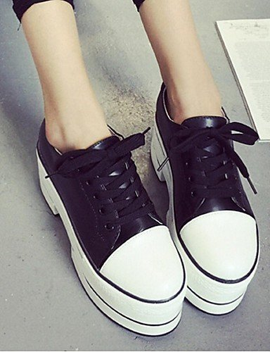 ZQ Scarpe Donna - Mocassini - Tempo libero / Casual - Creepers - Plateau - Finta pelle - Nero / Bianco , white-us8 / eu39 / uk6 / cn39 , white-us8 / eu39 / uk6 / cn39 white-us7.5 / eu38 / uk5.5 / cn38