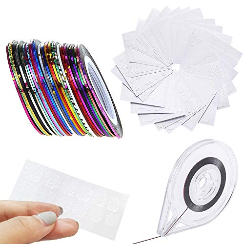 3 in 1 Nail Design Set: 30 Striping Tapes + 24 French Manicure Nagelsticker + 12 Nail Glue Sticke