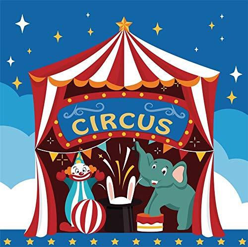 Cassisy 1,5x1,5m Vinyl Zirkus Fotohintergrund Circus Banner Rote weiße Streifen Zirkuszelte Stars Clown Fotoleinwand Hintergrund für Fotoshooting Fotostudio Requisiten Party Kinder Photo Booth