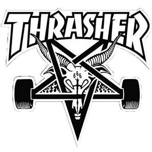 Thrasher Magazine Skate Goat Pentagramm Skateboard Aufkleber 9x 10cm Weiß/Schwarz -
