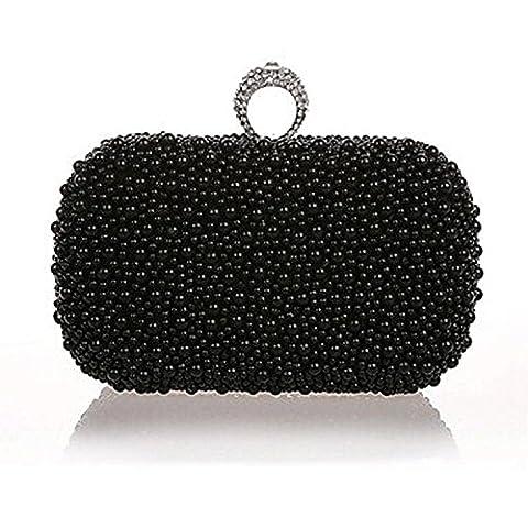 Women Metal Event/PartyEvening Bag .Fashion, Pearl ring . high quality.White, Pink,Black , black