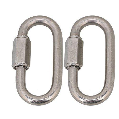 cnbtr Silber Multifunktional M6Edelstahl 304Klettern Gear Karabiner Schnell Oval Schraube Gate Rock Lock 2Stück -