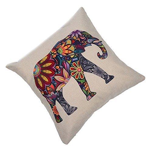 EULAGPRE Funda de Almohada de Lino Cojín de Elefante Colorido Funda de Almohada Solamente Cubierta