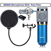 Techtest Studio Microphone Professional Dynamic Mic For Recording Bm 800 Condenser Singing Youtube Microphone With Wind Shield Pop Filter Sound Windscreen (BM800 Blue With Pop Filter)