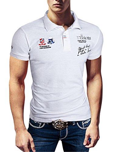 Weiße Langarm-polo-shirt (Polo New Poloshirt T-Shirt Shirt Hemd Party Slim Herren Kurzarm Pique Wow, Farbe:Weiß, Größe:L)