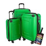 Happy Trolley - 3er Koffer-Set Trolley-Set Rollkoffer Hartschalen-Koffer Reisekoffer Lugano sehr leicht, TSA, (S, M & L), Grün + HT Kofferanhänger