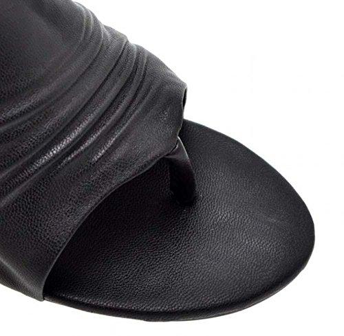 NobS High-Heel Peep Toe Pantofole Kitten Scarpe Tacco Lavoro Pantofole Dei Large Size 40-43 Black