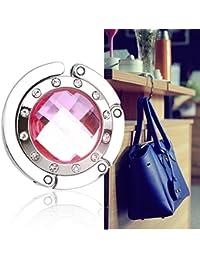 Bingsale Crochet de suspension pliable pour sac à main Cristal rose cerclé de diamants