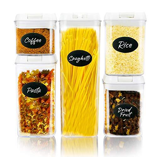 Set di 5 contenitori per alimenti ermetici impilabili | 10 adesivi riutilizzabili e penna per gesso | Vasetti di plastica per alimenti | Conservazione di alimenti secchi per dispensa | M&W