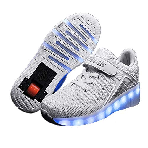 Unisex Niños Niñas LED Luz Flash Zapatos de Roller con USB Recargable Automática Ruedas Patines Al Aire Libre Gimnasia Running Zapatillas de Skateboard