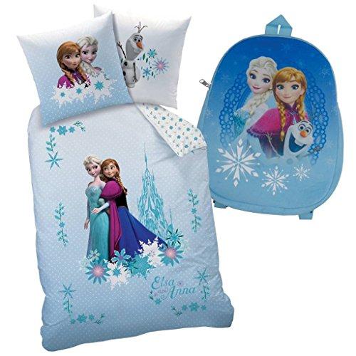 Disney Frozen funda de edredón 140x 200cm con funda de almohada 63x 63cm-100% poliéster-con un mochila Velboa gratis