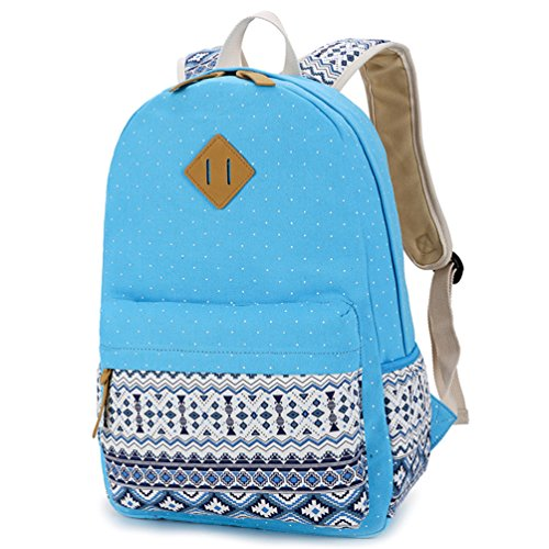 YoungSoul Mädchen Schulrucksack Teenage Rucksack Canvas Laptop Rucksäck für Universität + Umhängetasche + Segeltuch Mäppchen Azur(nur Rucksack)