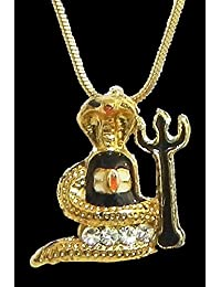 DollsofIndia Gold Plated Pendant - Shivalinga Encompassed By A Snake With A Trident - Metal (HN91-mod) - Golden...