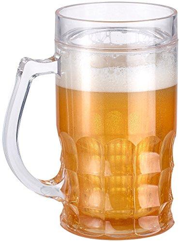 Rosenstein & Söhne Bier Glas: Doppelwandiger Bierkrug, Bier- & Getränke-Kühler mit Fake-Bier, 0,3 l (Fake Bierglas)