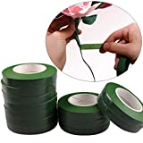 Yalulu 12 Stück Grün Flower Stem Tape Florist Floral Tape for Corsages, Bouquets, Flowers, Arrangements and Crafts,12mmx 30 Yards