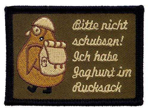 Café Viereck ® Bitte Nicht Schubsen Ich Habe Joghurt im Rucksack Fun Patch mit Klett Pinguin mit Helm und Stiefeln - 7 cm x 5 cm