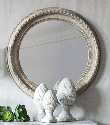 Keyhomestore Miroir Rond en Bois Blanc Ligne Shabby – 80 cm de diamètre