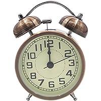 EASEHOME Doble Campanas Reloj Despertador de Cuarzo Analógico, Vintage Despertadores Silencioso sin Tictac Despertadores de Mesita Relojes Alarma Fuerte Luz Nocturna, 3 Pulgadas Números Arábigos