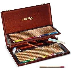 Lyra 2014200 - Lápices de colores, maletín de madera 96 colores diferentes