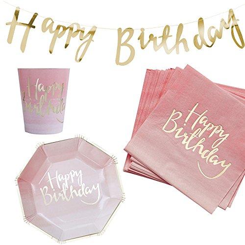 37 Teile Dekorations-Set Geburtstags-Party 'Happy Birthday' in pink & gold - 37 Teile - Party-Deko Set Happy Birthday Mädchen & Frauen Geburtstags-Feier / Geburtstags-Deko