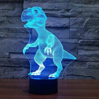 Topways® 3D Dinosaur Night Lights for Kids, Dinosaur Toys for Boys, 7 Colors Changing Night Light lamp Table Desk Bedroom Decoration Toys for Boys